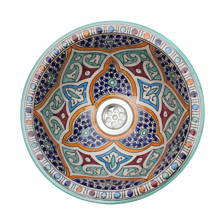 Moroccan Washbasin Sink Ceramic Wash Basin Hand Painted 31cm  12.2'' Free Waste Included Ref. SW802